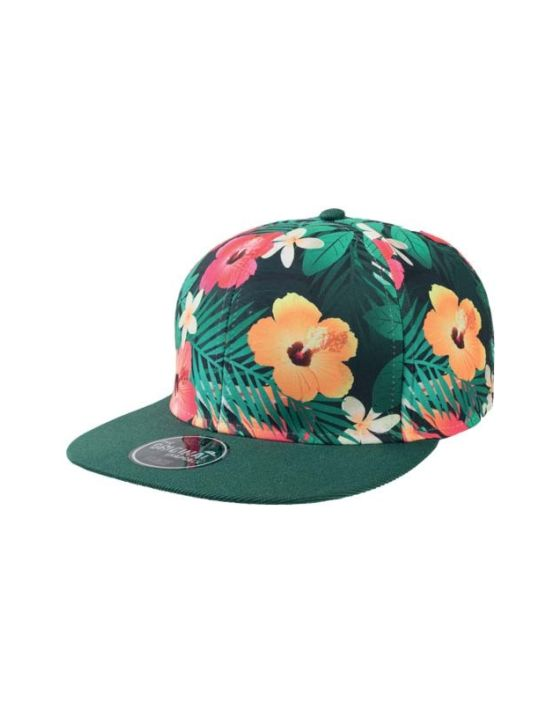 Green flower Flat jockey hat with visor  7f6f766a95a