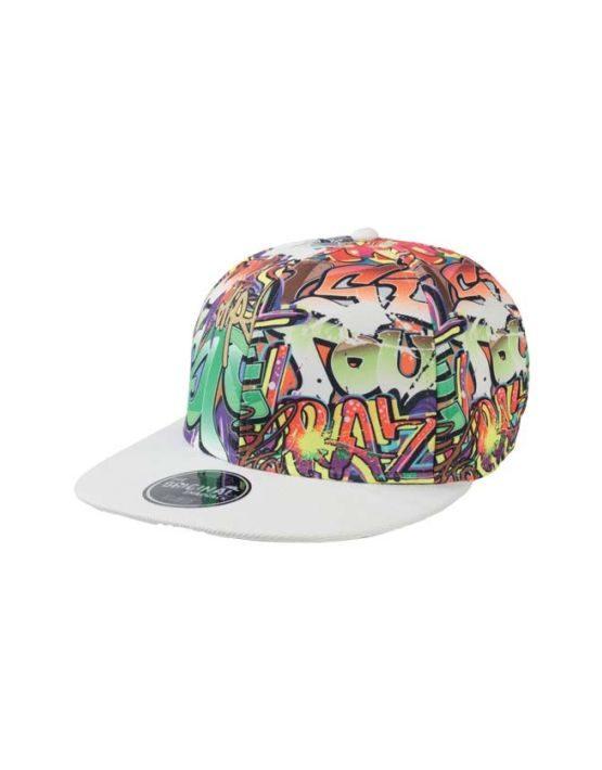 Graffiti Flat jockey hat with visor